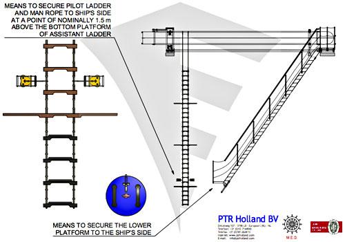 Wood Rubber Material Marine Pilot Rope Ladder Boarding